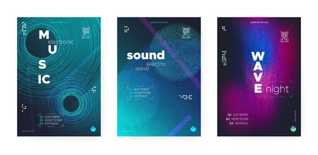 Trance Music Concept. Electronic Festival Background. Futuristic Dj Party. Wave Event. Vibrant Music Poster. Glitch Electronic Motion Background. Dj Flyer. Wave Fluid. Music Abstract. Stock Illustratie