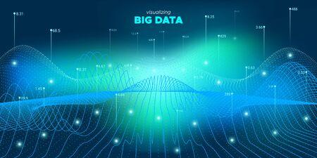 3d Big Data. Glow Statistic Illustration. Matrix Design. Analysis Big Data. Blue Virtual System. Futuristic Illustration. Glow Industry Banner. System Big Data. Virtual Effect. Ilustração