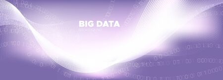 Big Data Stream. Pink Digital Particles. Glow Tech Abstract. Information Binary Technology. Big Data Analysis. Particle Future. Tech Poster. Violet Binary Number Background. Purple Big Data Concept. 向量圖像