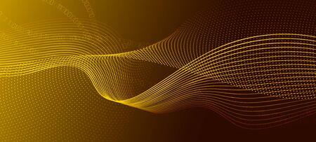 Matrix Big Data. Gold Science Wallpaper. Light Glow Technology Poster. Digital Binary Code. Matrix Data Stream. Science Visualization. Technology Concept. Abstract Binary Flow. Matrix Background. Ilustração