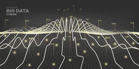 3d Big Data. Dark Technology Information. Future Design. Black Linear Big Data. Fluid Virtual Effect. Infographic Illustration. Gray Cyber Banner. Graph Big Data. Virtual System. Ilustração