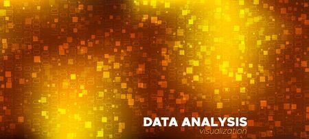 Matrix Big Data. Glow Science Visualization. Brown Gold One, Zero Numbers. Abstract Binary Flow. Matrix Data Stream. Vector Science Flyer. Technology Poster. Digital Binary Waves. Matrix Background. Ilustração