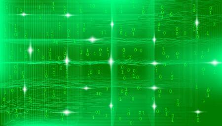 Light Big Data Visualization. Security Concept. Gradient Complexity Design. Green Tech Fractal. Futuristic Big Data Background. Abstract Concept. Technology Design. 3d Fractal. Business Analysis.