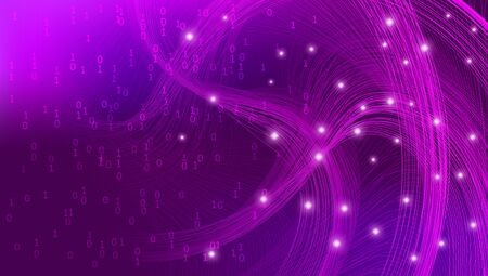Violet Big Data Visualization. Business Analysis. Futuristic Complexity Design. Pink Tech Fractal. Magenta Big Data Geometric. Social Network. Technology Design. 3d Fractal. Analysis Center. Ilustração