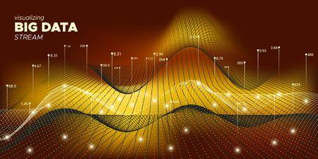 Big Data Screen. Technology Visualization. Big Data Illustration. Black Digital Binary Wave. Orange Complexity Abstract. Particle Motion. Technology Abstract. Big Data Concept. Ilustração