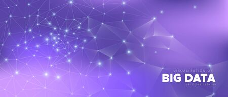 Data Tech Concept. Magic Science Visualization. Gradient 3d Minimal Illustration. Violet Triangles Pattern. Abstract Data Flow. Cosmic Science Wallpaper. Purple Background. Technology Data.