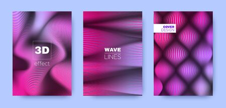 Magenta Fluid Cover. Violet Headline Template. Business Distorted Texture. 3d Geometric Background. Blue Striped Pattern. Wave Background. Headline Cover. 3d Geometric Concept.