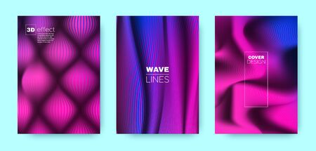Violet Wave Poster. Abstract Cover. Purple Dynamic Illustration. Vibrant 3d Movement Halftone Texture. Wave Poster. Headline Cover. Business Illustration. Wave Poster. Vibrant Illustration.