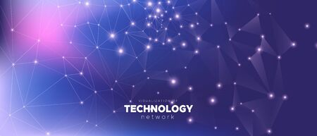 Gradient Technology Business. Big Data. Dark Dots Network. Violet Triangles Background. Technology Wallpaper. Blue Data Motion. Dark Depth Network. Magic Triangular Background. Blue Data Tech. Reklamní fotografie - 131130295