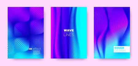 Fluid Stripe Poster. Purple Abstract Covers Set. Movement Illustration. 3d Distorted Halftone Gradient. Colorful Wave Linear Poster. Design Covers Set. Movement Brochure. Linear Poster.