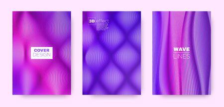 Neon Wave Cover. Blue Abstract Template. Business Striped Pattern. 3d Movement Brochure. Blue Distorted Lines. Wave Brochure. Design Cover. 3d Geometric Template. Ilustração