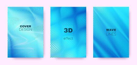 3d Lines Design. Wave Flow Shape. Neon Vector Background. Gradient Striped Pattern. Gradient 3d Lines Shape. Wave Flow Concept. Neon Minimal Wallpaper. Blue 3d Lines Geometric Texture. Ilustração