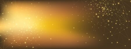 High Technology Elements. 3d Big Data. Gold Grid Network. Glow Polygonal Background. Golden Technology Connection. Data Stream. Light Depth Background. High Triangular Network. Technology Wallpaper. Ilustração