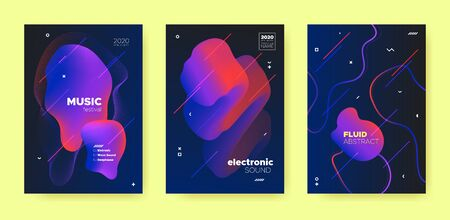 Abstract Fluid Design. Music Party. House Dj Sound. Electronic Dance Festival. Red Abstract Fluid Poster. Blue Music Flyer. Trance Dj Sound. Electronic Dance Event. Purple Abstract Fluid Concept.
