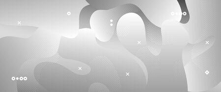 Flow Wave Poster. Monochrome Memphis Wallpaper. White Vector Illustration. Creative Layout. 3d Fluid Background. Gradient Template. Geometric Pattern. Metallic Movement Concept. Wave Fluid Shapes.