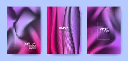 Colorful Flow Cover. Neon Modern Shapes. Business Vibrant Stripes. 3d Movement Brochure. Purple Striped Pattern. Fluid Brochure. Minimal Cover. 3d Geometric Concept.