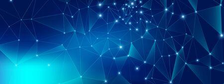 Technology Future. Big Data Center. Blue Polygonal Abstract. Gradient Geometric Architecture. Technology Pattern. Big Data Server. Glow Triangular Banner. Futuristic Connection. Technology Digital. 矢量图像