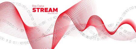 Binary Matrix Background. Red Tech Poster. Particle Motion. Big Data Concept. White Binary Number Wallpaper. Tech Banner. Digital Particles. Big Data Stream. Information Binary Technology. Illusztráció