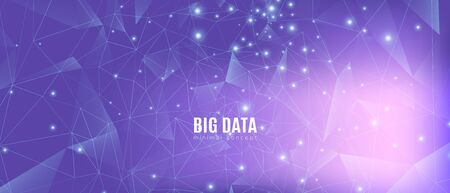 High Big Data Banner. Magic Science Visualization. Gradient 3d Minimal Background. Violet Triangles Pattern. Data Tech Concept. Cosmic Science Tech Network. Purple Illustration. Abstract Data Flow.