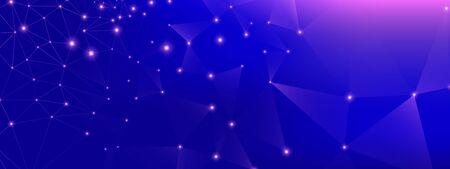 Technology Finance. Big Data Background. Blue Triangular Wallpaper. Purple Geometric Abstract. Technology Network. Dark Big Data Architecture. Violet Polygonal Poster. Pink Technology Concept.  イラスト・ベクター素材
