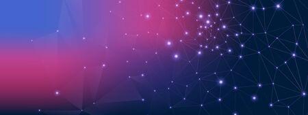 Blue Technology Visualization. Big Data Stream. Purple Particle Contemporary. High Wireless Pattern. Technology Architecture. Vector Big Data. Wireframe Communication. Dark Technology Background. Illustration
