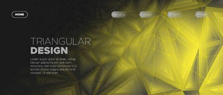 Abstract Triangles Background. Gray Geometric Banner. Light Web Page Design. Futuristic Style. Gold Triangle Wallpaper. Geometric Poster. Futuristic Origami. 3d Abstract Triangular Geometry.