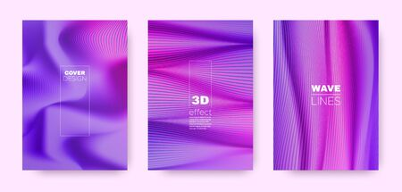 Neon Flow Cover. Purple Abstract Shapes. Dynamic Distorted Texture. 3d Movement Background. Multicolor Striped Pattern. Fluid Background. Minimal Cover. 3d Movement Template. Illusztráció