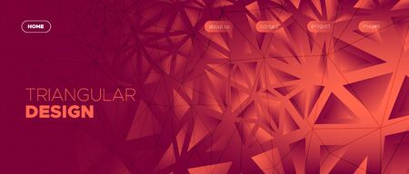 Triangles Background. Abstract Geometric Banner. Dark Vector Web Site. Light Futuristic Style. Red Triangular Geometry. Geometric Pattern. 3d Abstract Web Site Template. Triangle Wallpaper. Stock Illustratie