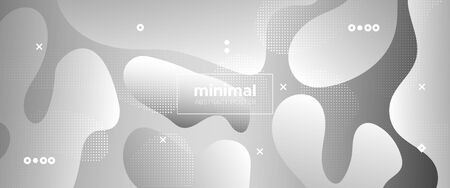 Wave Fluid Shapes. Metallic Memphis Wallpaper. White Geometric Element. Graphics Brochure. Flow Wave Poster. Gradient Template. Vector Illustration. Monochrome Movement Concept. 3d Fluid Background.