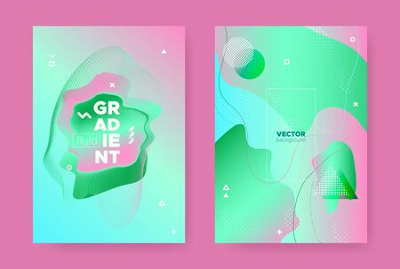 Hipster Abstract Geometric Background. Contemporary Design. Pink Fluid Gradient Shapes. Graphic Pastel Wavy Covers. Abstract Geometric Elements. Gradient Liquid Shape. Memphis Geometric Elements. Фото со стока - 131966651