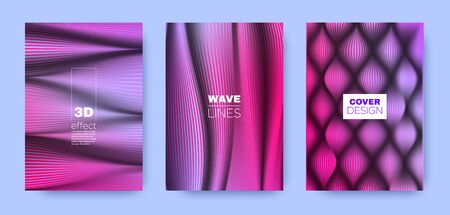 Violet Flow Cover. Colorful Design Template. Business Distorted Texture. 3d Movement Brochure. Blue Distorted Texture. Wave Background. Design Cover. 3d Movement Template.