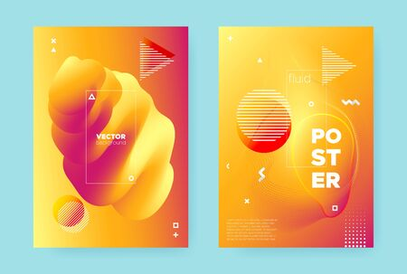 Bright Fluid Background. Red Vibrant Abstract Pattern. Yellow Wave Shapes. Modern Memphis Illustration. Autumn Fluid Brochure. Trendy Hipster Cover. Summer Wave Poster. Orange Fluid Gradient.
