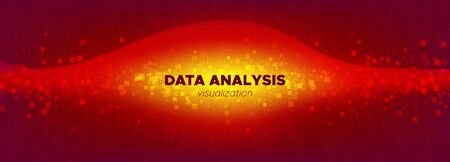 Tech Banner. Red Digital Particles. Big Data Stream. Light Binary Numbers Movement. Orange Tech Poster. Particle Motion. Big Data Analysis. Glow Binary Number Background. Yellow Tech Abstract. Illusztráció