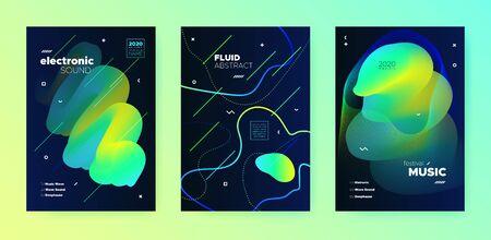 Electronic Music Template. Dj Poster. Blue Futuristic Banner. Vibrant 3d Fluid Lines. Music Presentation. Modern Dj Flyer. Minimal Design. Yellow 3d Fluid Pattern. Electronic Music Festival.
