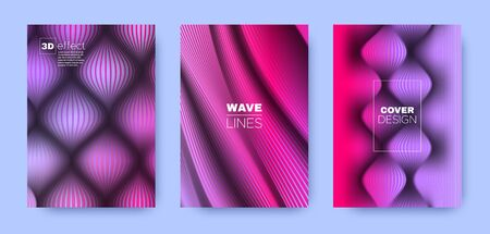 Blue Fluid Cover. Violet Headline Shapes. Dynamic Distorted Lines. 3d Movement Background. Pink Distorted Lines. Wave Brochure. Minimal Cover. 3d Geometric Concept.