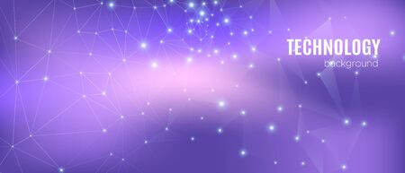 Data Tech Concept. Magic Vector Science Flyer. Cosmic 3d Digital Background. Violet Triangles Texture. Abstract Data Flow. Purple Science Visualization. Gradient Illustration. Technology Data.