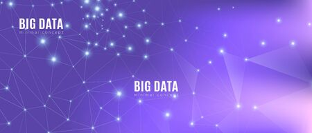 Data Tech Concept. Magic Science Wallpaper. Purple Futuristic Background. Violet Triangles Pattern. Technology Data. Cosmic Science Tech Network. Gradient Illustration. Abstract Data Flow.