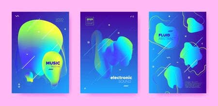 Electronic Music. Dj Party. Neon Futuristic Banner. Vibrant 3d Fluid Design. Electronic Sound. Dj Flyer. Blue 3d Flow Design. Neon Gradient Brochure. Modern Abstract Design. Electronic Concert.