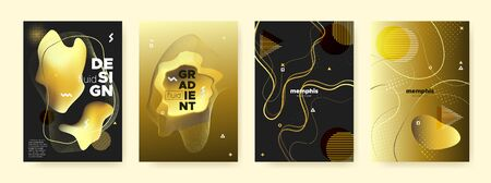 Gold Liquid Gradient. Vector Abstract Pattern. Luxury Yellow Flow Poster. Fashion Contemporary Brochure. Glow Liquid Shapes. Golden Memphis Pattern. Bright Fluid Poster. Graphic Liquid Background. Ilustrace