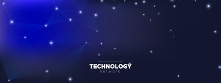 Futuristic Technology Pattern. Big Data Server. Light Triangles Abstract. Dark Connection. Cosmic Futuristic Architecture. Technology Digital. Big Data Center. Polygonal Banner. Futuristic Wallpaper.  イラスト・ベクター素材