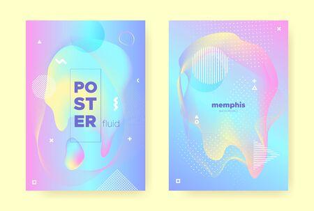 Rainbow Pastel Flow. Abstract Memphis Background. Liquid Banner. Hologram Brochure. Blue Pastel Cover. Pink Abstract Gradient Illustration. Magic Wave Design. Music Brochure. Pastel Shape. Ilustração