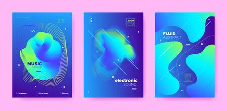 Electronic Concert. Dj Poster. Neon Minimal Brochure. Trendy 3d Fluid Design. Electronic Festival. Dj Party. Blue 3d Flow Waves. Blue Gradient Pattern. Vibrant 3d Fluid Waves. Electronic Sound.