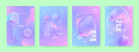 Magic Fluid Banner. Violet Holographic Background. Blue Memphis Composition. Pink Flow Shapes. Fluid Poster. Neon Hologram Gradient. Blue Memphis Elements. Wave Shapes. Pastel Cover.