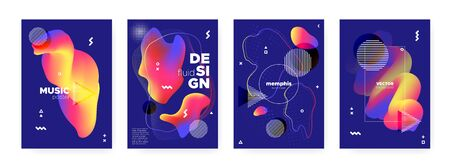 Fluid Memphis Background. Graphic Abstract Cover. Red Wave Shape. Modern Bauhaus Illustration. Flow Memphis Brochure. Futuristic Hipster Banner. Bright Wave Shapes. Flow Memphis Gradient.