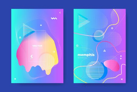 Pink Music Poster. Electronic Sound Brochure. Graphic Abstract Design. Blue Fluid Shape. Vector Music Banner. Nightclub Party Background. Gradient Design. Bright Flow Cover. Music Flyers.