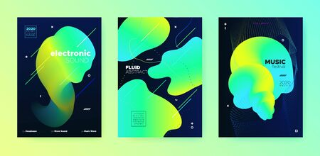 Electronic Music Festival. Dj Sound. Neon Minimal Banner. Vibrant 3d Flow Lines. Music Invitation. Modern Dj Flyer. Minimal Design. Yellow 3d Fluid Lines. Electronic Music Template.