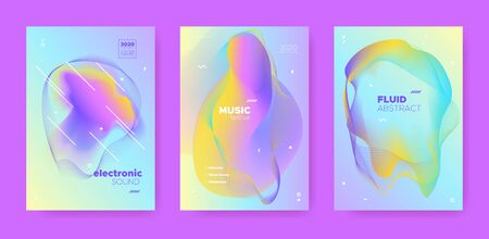 Techno Music Poster. Wave Gradient Blend. Night Club Flyer. Flow Shape. Blue House Music Poster. Holographic Abstract Gradient Shape. Disco Club Event. Dj Sound. Electro Music Poster. Vektorgrafik