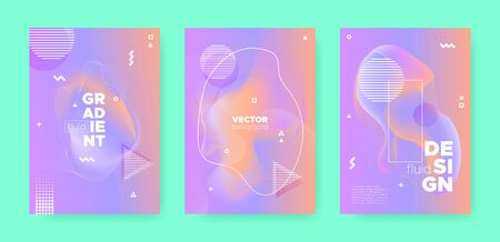 Hipster Abstract Geometric Background. 70s or 80s Effect. Violet Gradient Flow Shapes. Graphic Pastel Wavy Covers. Abstract Geometric Elements. Wave Gradient Shape. Memphis Geometric Elements.