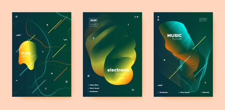 Dance Music Poster. Wave Gradient Blend. Night 3d Banner. Dj Invitation. Yellow Techno Music Poster. Gold Wave Gradient Shapes. Disco Club Flyer. Dj Sound. Electro Music Poster.