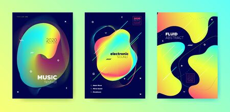 Neon Music Design. Minimal Layout. Electronic Techno Festival. Multicolor 3d Fluid Template. Trendy Music Party. Futuristic Layout. Electronic House Concert. Vivid Colorful Music Banner.